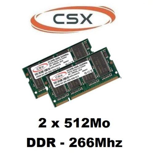 CSX 2 x 512 MB, 1GB (266Mhz PC mobile 266 memorire Ram PC - 2100 266 für PC Laptop, Notebook, DDR1, DDR -