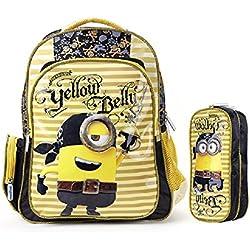 2015Nuevo diseño de pirata Minion 3d amarillo niños escuela bolsas mochila + estuche Set
