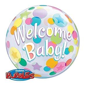 Globos de látex Qualatex 25860Bienvenido bebé lunares sola burbuja, 55,9cm (22)