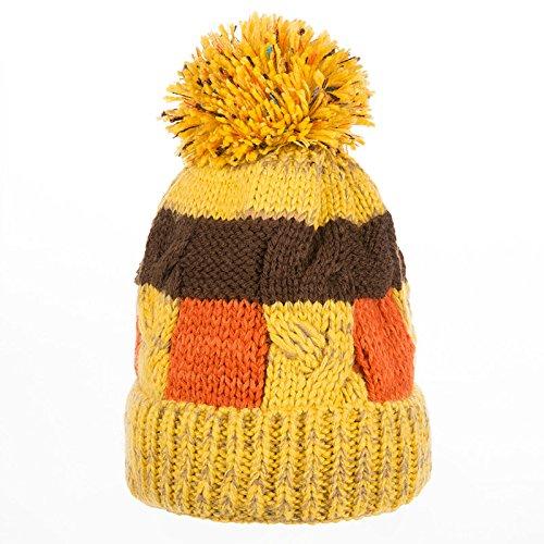 FQG*Mme La marée chapeau d'hiver épais non pelucheux tricot belle couleur automne hiver chaud chapeau sort oreille hat tricot Marine , Yellow