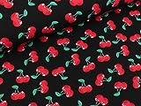 Quality Textiles Baumwolljersey Kirschen rot auf Schwarz