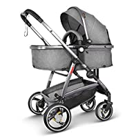 Besrey Baby pram 2 in 1, Luxury Sit and Sleep Stroller for Baby and Infant