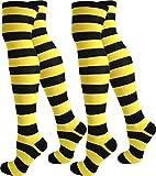 normani 2 Paar Damen Overknee Überknie uni in Schwarz oder Weiß Farbe Schwarz/Gelb/Breit