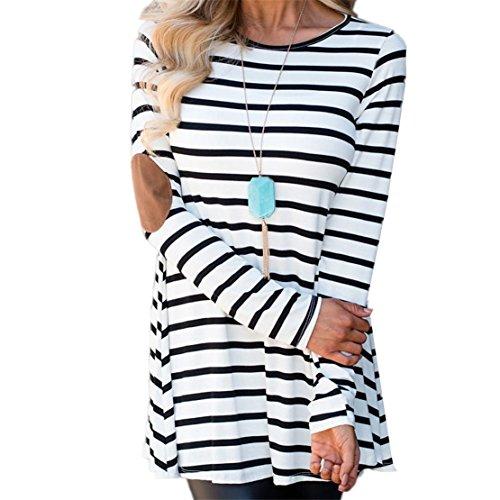 Womens Blouse KAKING Womens Manches Longues Rayé épissage Col Rond Tunique T-Shirt Blouse (blanc, XL)