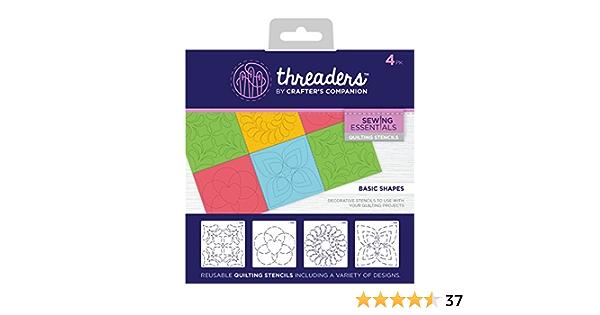 18.6 x 16.4 x 0.2 cm Transparent Threaders TH-1219 Quilting Stencils-Basic Shapes