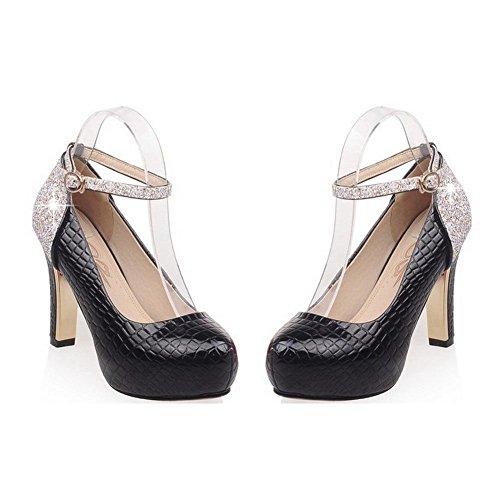 AllhqFashion Femme Rond à Talon Haut Matière Souple Couleur Unie Boucle Chaussures Légeres Noir