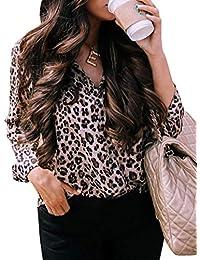 61e27a456aead ShallGood Chemisier Femme Sweats Manches Longues Blouse Imprimée Léopard  Tunique Col V Automne Hiver Casual Imprimé De Bouton T…