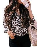 ShallGood Donna Camicia Leopardato Manica Lunga Pulsante Classici Casual Stampa Leopardata V-Collo Camicette Camicia Top Elegante Lavoro E Ufficio T-Shirt Bluse Cachi IT 40