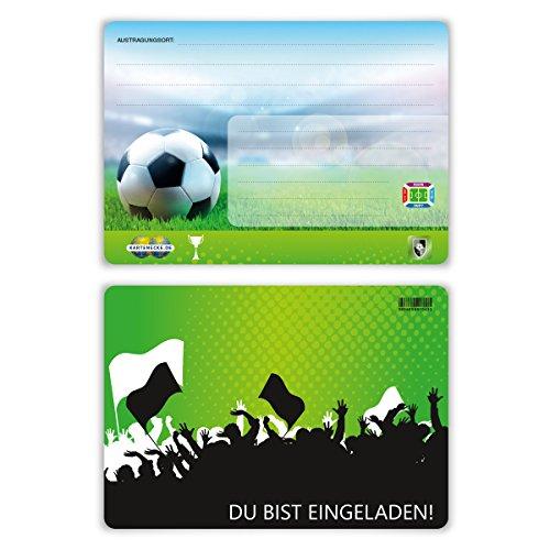 Einladungskarten Einschulung Schulanfang Jungen Mädchen 8 Stück - Fußball Ticket