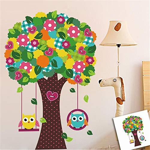 WALSTICKEL Pegatinas de pared Pájaro Árbol Flor Colorido Flora Etiqueta Casera Etiqueta De La Pared Sala De Niños Decorativos Vivero Dibujos Animados Niños Bebé Juguete Animales