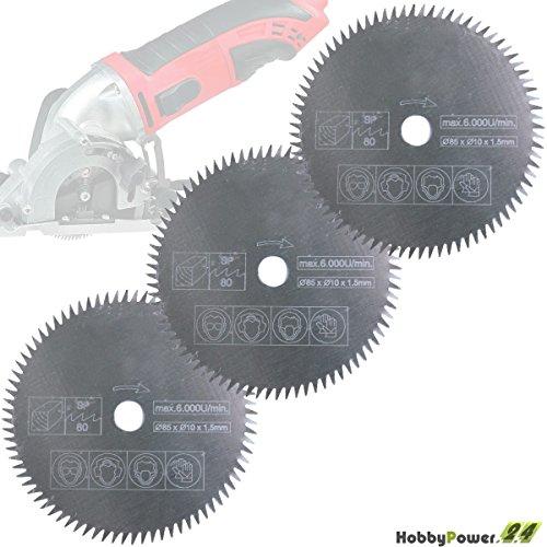 Preisvergleich Produktbild Mini Handkreissäge 3er-Set Sägeblatt Holz Fein 85x10mm für Alpha Tools A-MHS 450