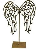Metallmichl Edelrost ALA Flügelpaar Nach Unten auf - Ständer- Eckige Platte Engel-Flügel aus Rost Metall Dekofigur