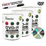 Smartbuy 300-disc 4.7GB/120min 16x DVD-R Shiny Silver Blank Media Record Disc + Black Permanent Marker