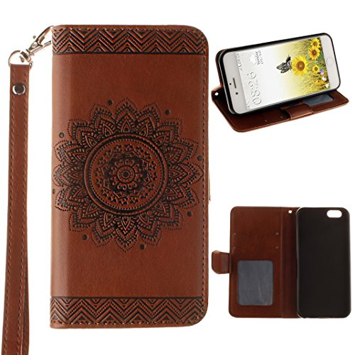 Custodia iPhone 6 Plus Libro, Caso iPhone 6S Plus Flip Cover in Pelle, Moon mood® Mandala Custodia in Cuoio PU Portafoglio Shell con Carta Slots Shockproof Leather Wallet Stand Cover Flip Case with Ma Brown