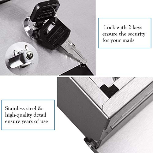 Briefkasten Postkasten mit Zeitungsrolle und Sichtsfenster; Nameschild Abschließbar mit 2 Schlüssel (Silber) - 5