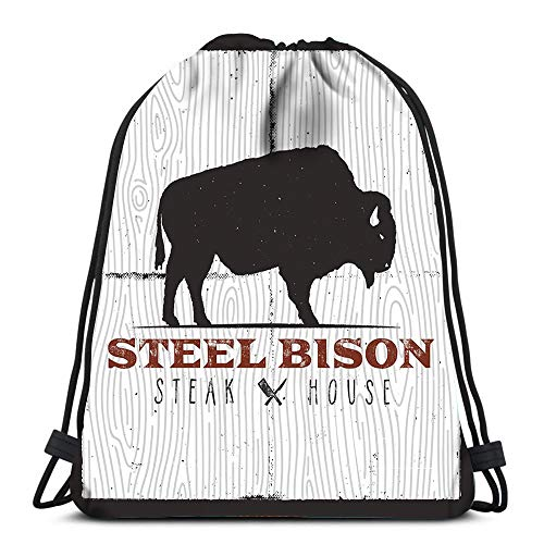 Randell Gym Drawstring Backpack Sport Bag Steak House Logo Vintage Bison BBQ Kitchen Knives Retro Emblem Lightweight Shoulder Bags Travel College Rucksack for Women Men Logo Steak