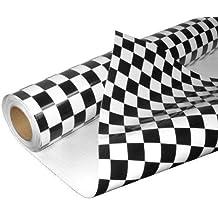 DiversityWrap Rollo de vinilo adhesivo decorativo para coche, diseño de bandera de carrera a cuadros, acabado brillante