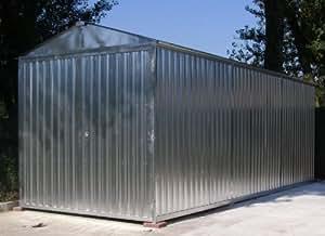 Box casetta in lamiera zincata con struttura in acciaio zincato mt. 8,50x2,60x2,11 h con porta a due ante mod. SAPILBOX