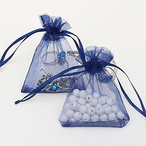 Generic 100pcs Organza Geschenkbeutel-Säckchen Taschen 7 x 9cm Ver.f - Navy blau, 7 x 9cm