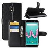 ECENCE Hülle für Wiko Lenny 5 Wallet Case Handy-Schutzhülle Handycover Klapphülle mit Kartenfach und Ständer Schwarz 14010304