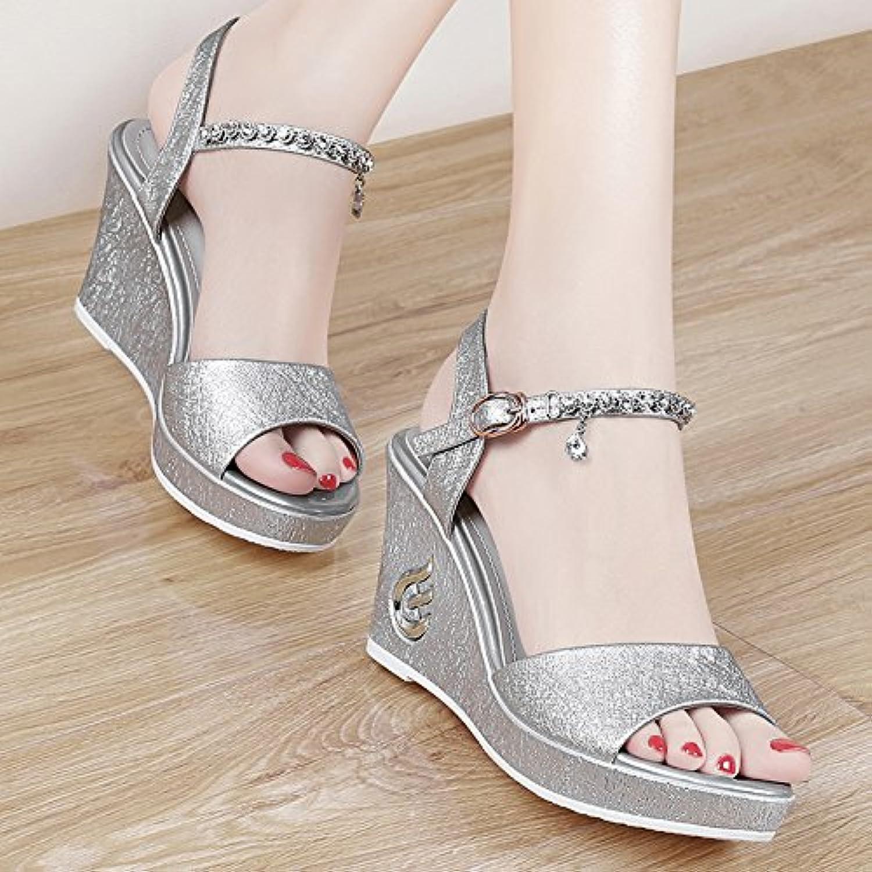 HBDLH Chaussures pour femme/respirantes/confortables/9Cm Talons Talons femme/respirantes/confortables/9Cm Hauts La Pente Des Talons Poisson Bouche D'Épaisseur...B07DP4DYNMParent 38361b