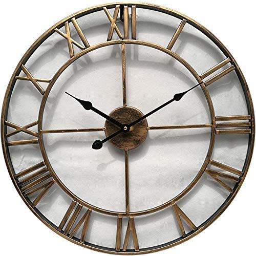 wczzh Quartz Lautlos Wanduhr Uhr Uhren Wall Clock Runde Hohle Wanduhr aus Schmiedeeisen Europäische Home Mute Wanduhr Gold