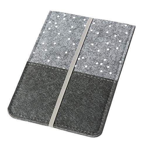 eReader Hülle 'Punkte' aus Filz, dunkelgrau (Farbe wählbar) | Schutzhülle für eBook Reader bis 6 Zoll (15cm) für z.B. Kindle Paperwhite