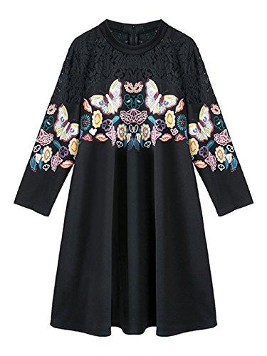 Jollychic - Robe - Tunique - Manches 3/4 - Femme Noir