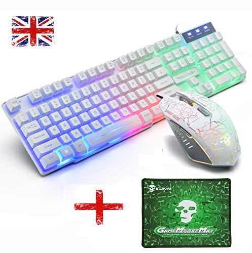 Hoopond UK Layout T6 Juego teclado ratón retroiluminación