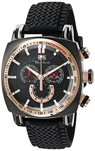 Ritmo Mundo Men's 2221/7 Black Rose Gold Racer Analog Display Swiss Quartz Black Watch