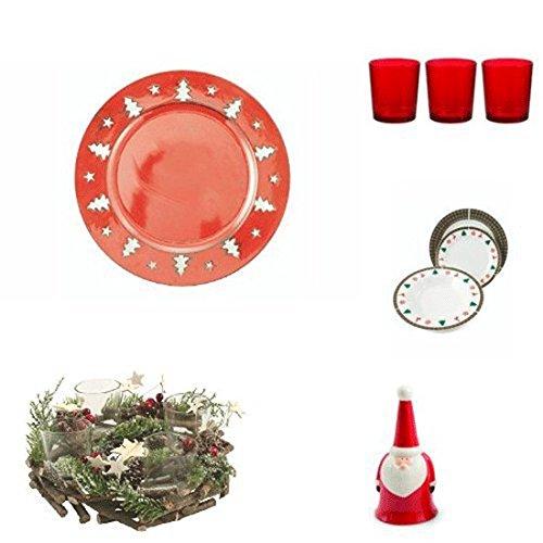 Galileo Casa - Kit Navidad, vajilla de Porcelana, Color Rojo, 60x 40x 40cm