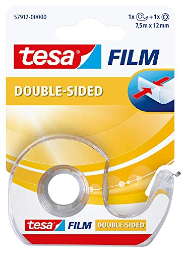 tesa® Doppelseitiges Klebeband, 1 Rolle und Abroller