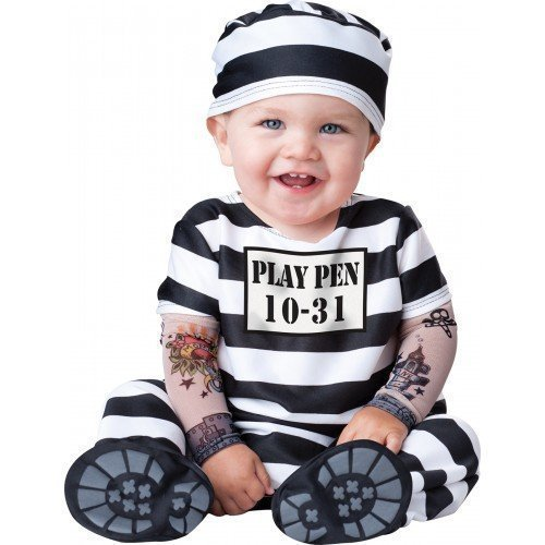 ädchen Time Out Sträfling Gefangener Charakter Halloween Kostüm Kleid Outfit - Schwarz/weiß, Schwarz/weiß, 6-12 Months (Kind Gefangener Kostüm)