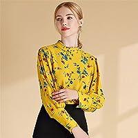 Camisa de manga larga camisa de cuello de gasa floral impresion pequeña fresca camisa de manga,Amarillo,XXL