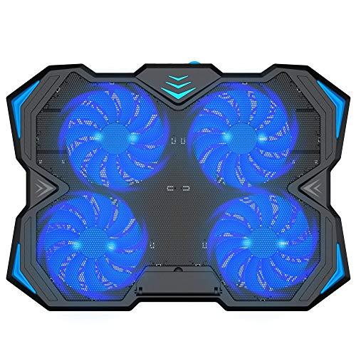 HWZDQLK 12-17 Zoll Laptop Cooling Pad, 4 leise Lüfter Cooler Chill Mat mit Einstellbarer Geschwindigkeit Fan und 3 Höhenhalterung 2 USB-Ports Chill Mats -