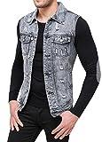 Evoga Smanicato di Jeans Uomo Denim Giubbotto Gilet Casual Slim Fit (XL)