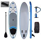 Buyi-World Tavola da SUP Gonfiabile, Surfboard Stand Up Paddle Board Doppio Strato con Pagaia e Pompa Manuale, 305 × 76 × 15CM - 3 Colori (Azzuro)