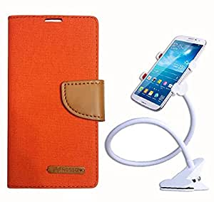 Aart Fancy Wallet Dairy Jeans Flip Case Cover for Apple6G (Orange) + 360 Rotating Bed Moblie Phone Holder Universal Car Holder Stand Lazy Bed Desktop by Aart store.