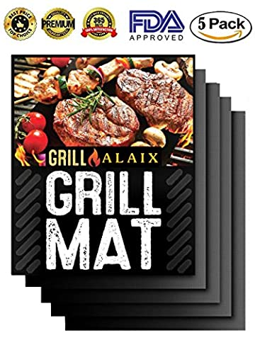 ALAIX 100% Non-stick BBQ Grill & Baking Mats - FDA-Approved,Reusable and Easy to Clean - Works on Gas, Charcoal, Electric Grill and More - 15.75 x 13 Inch,Set Of