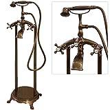 Retro Stand Armatur Freistehend für Badewanne Wanne Rot Bronze Sanlingo