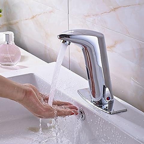 Tourmeler Förderung hoch Bad Sensor Wasserhahn Mischbatterie Deck Mount Warmes und kaltes Wasser W/quadratische