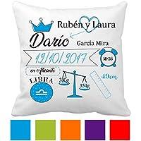 d3f7e4659 Regalo Original Recién Nacido Cojín Natalicio Datos Nacimiento Bebe Disponible  en Diferente Colores