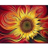 XIAOBAOZISZYH DIY Kinder Digitale Malerei Leinwand Kit Pflanze Abstrakte Sonnenblume Schlafzimmer Esszimmer Studie Wohnkultur.40 × 50 cm