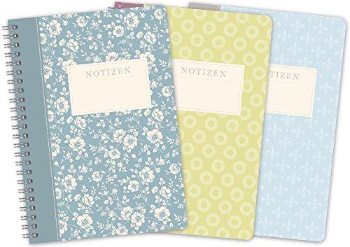 """3er-Set LifeDesign Notizbuch A5 Notizheft Spiralbuch""""Trentino""""""""Sumatra""""""""Lilie"""" 120 Seiten creme liniert Softcover FSC"""