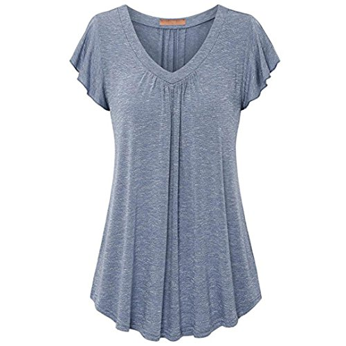 TEBAISE Mid Season Fashion Damen Daily Home Barbecue Party Einfacher Anzug Plus Size Plissee Kurzarm V-Ausschnitt Bluse Top Tunika Bluse Shirt Jacke(Blau,EU-54/CN-XXL)