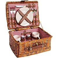 Cesta de picnic completa de vajilla de porcelana 2 personas cesta de mimbre de picnic cesta de mimbre de madera de sauce (rojo)