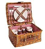 Picknick Korb komplett Porzellan Geschirr 2 Personen Weidenkorb Picknickkorb Weidenholz Weidenpicknickkorb (Rot)