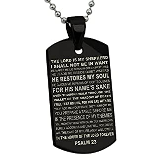 Schwarz Edelstahl Psalms 23 Bibel Vers Hundemarke Anhänger