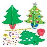 Baker Ross Moosgummi 3D-Weihnachtsbaum Sets - Kreative Weihnachtskunst und Bastelbedarf für Kinder zum Basteln und Dekorieren (4er-Pack)