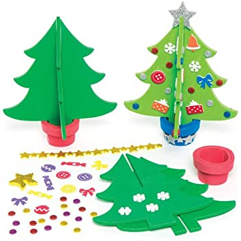Lavoretti Di Natale 3d.Kit Alberi Di Natale 3d In Gommapiuma Per Bambini Da Creare E Decorare Confezione Da 4